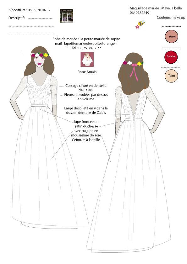 figurine robe Amaïa by la petite mariée de sopite créateur de robes de mariées au Pays basque