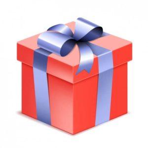 Cadeaux rouge avec un lien bleu